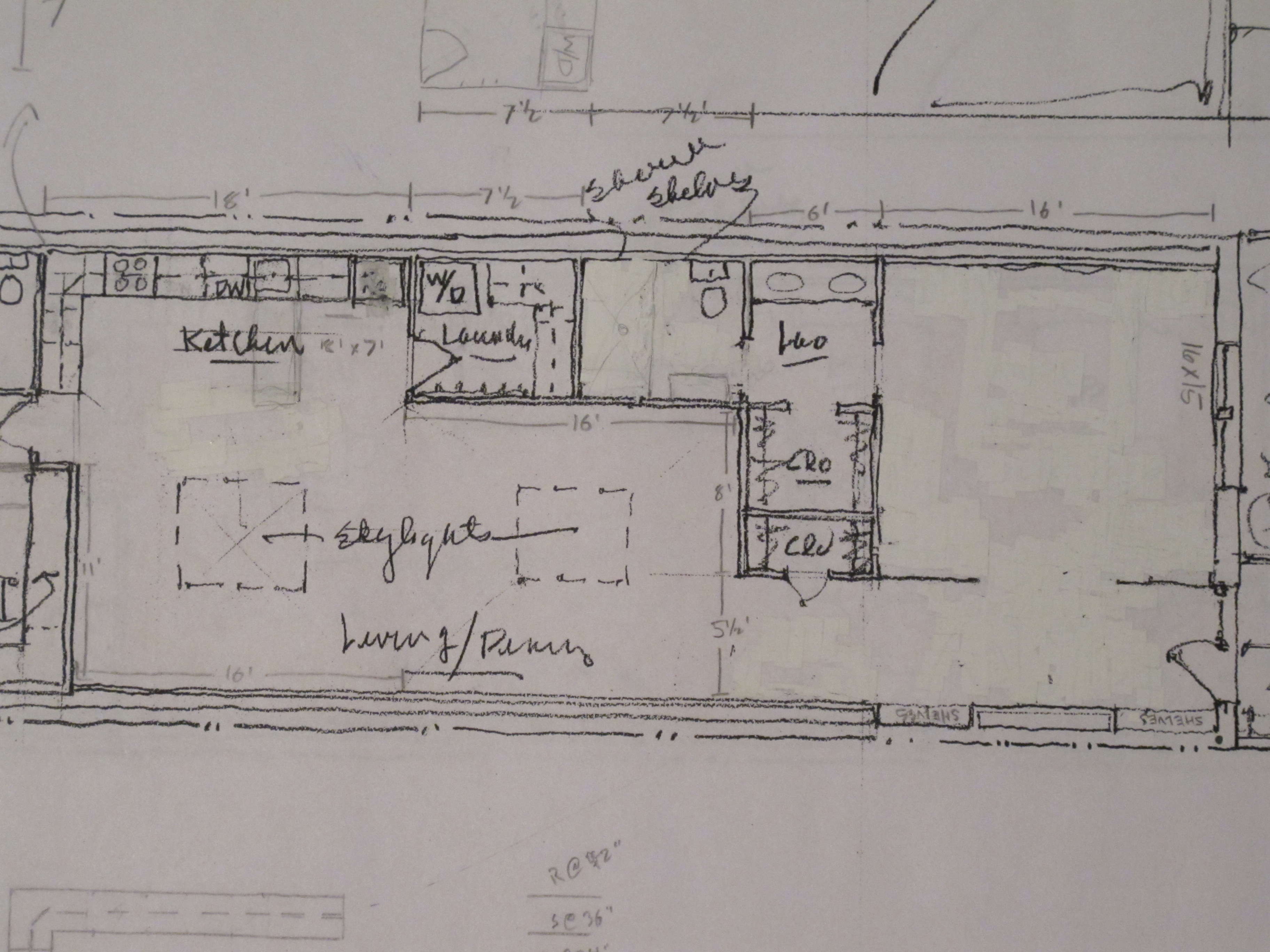 initial design of long house plan